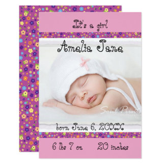 3x5 Purple/Pink Newborn Baby Girl Announcement