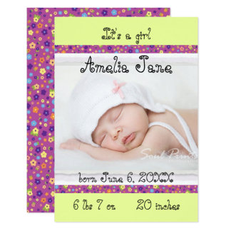 3x5 Purple/Yellow Newborn Baby Girl Announcement