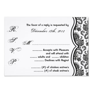 3x5 R.S.V.P. Reply Card Black White Damask Lace