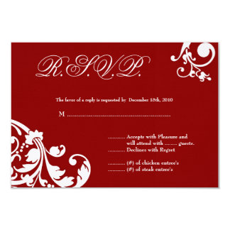 3x5 R.S.V.P. Reply Card Crimson Red Floral Foliage Custom Invite
