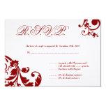 3x5 R.S.V.P. Reply Card Crimson Red Floral Foliage Custom Invitations