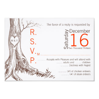 3x5 R.S.V.P. Reply Card Fall Tree Initial Carved