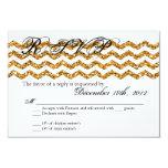 """3x5 R.S.V.P. Reply Card Gold Glitter Chevron Strip 3.5"""" X 5"""" Invitation Card"""