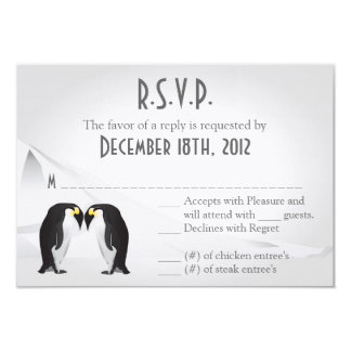 """3x5 R.S.V.P. Reply Card Penguins Mate for Life 3.5"""" X 5"""" Invitation Card"""