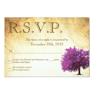 3x5 R.S.V.P. Reply Card Spring Tree Aged Paper Vin