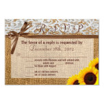 3x5 R.S.V.P. Reply Card Sunflower Lace Burlap Coun Personalized Announcement
