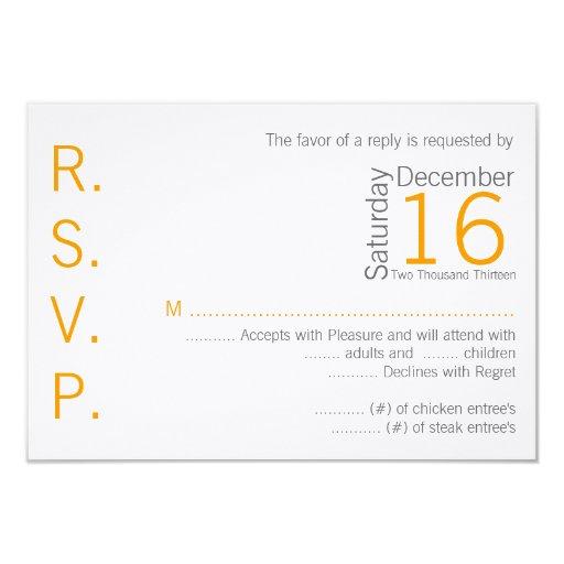 3x5 R.S.V.P. Reply Card Yellow Grey Name Chevron Custom Invites