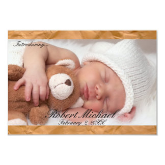 3x5Beautiful Brown Rustic Newborn Boy Announcement