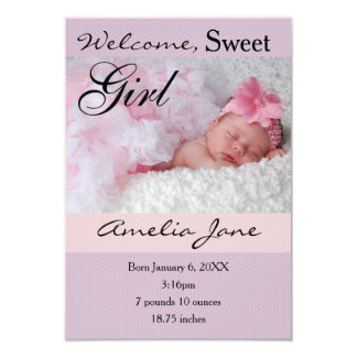 3x5Beautiful Purple Pink Newborn Girl Announcement
