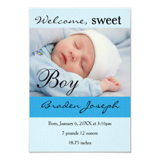 3x5Sweet Boy Newborn Baby Birth Announcement