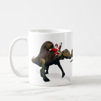 3x Santa Claus Riding On Dinosaurs Coffee Mugs