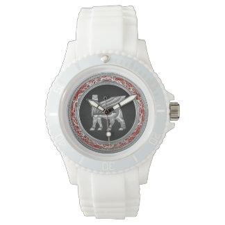 [400] Babylonian Winged Bull [Silver] [3D] Wrist Watch