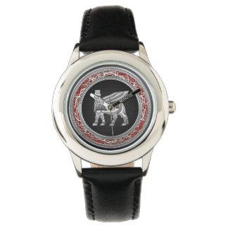[400] Babylonian Winged Bull [Silver] [3D] Wristwatch