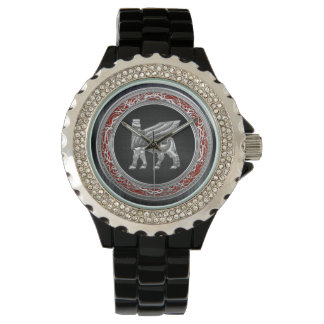 [400] Babylonian Winged Bull [Silver] [3D] Wristwatches