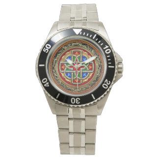 [400] Celtic Cross [Gold+Enamel] Wrist Watch