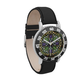 [400] Celtic Cross [Gold with Black Enamel] Wrist Watches