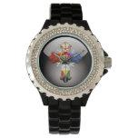 [400] Cruz atractiva (Croix color de rosa) Relojes De Pulsera