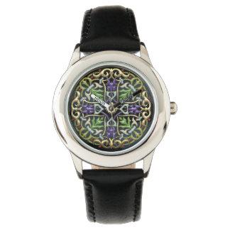 [400] Cruz céltica [oro con el esmalte negro] Reloj