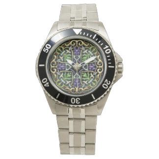 [400] Cruz céltica [oro con el esmalte negro] Reloj De Mano