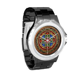 [400] Cruz céltica [oro+Esmalte] Relojes De Pulsera
