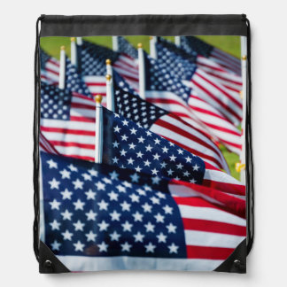 400 flags waving proudly in a field drawstring bags