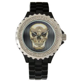 [400] Golden Human Skull Wristwatch