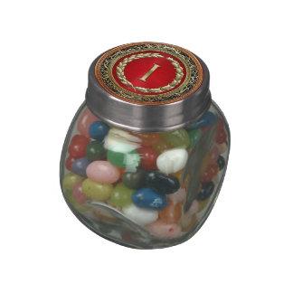 """[400] """"I"""" Gold Vintage Monogram Glass Candy Jar"""