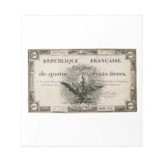 400 Livres French Revolution Assignat Bank Note Memo Notepad