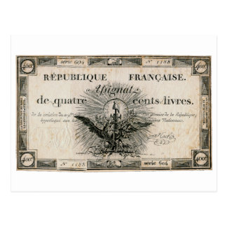 400 Livres French Revolution Assignat Bank Note Postcard