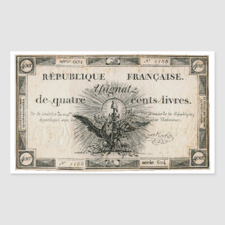 400 Livres French Revolution Assignat Bank Note Rectangular Sticker