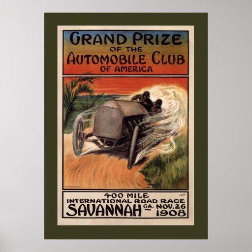 400 Mile International Road Race Savannah GA 1908 Poster