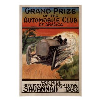 400 Mile International Road Race Savannah GA 1908 Poster
