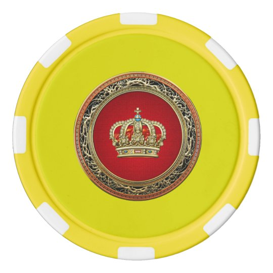 [400] Prince-Princess King-Queen Crown [Belg.Gold] Poker Chip Set