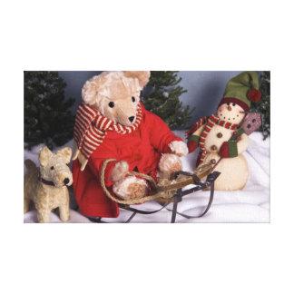 4019 Sledding Teddy Bear & Friends Christmas Canvas Print