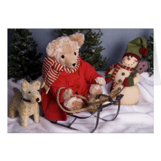 4019 Sledding Teddy Bear Friends Christmas Greeting Card