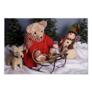 4019 Sledding Teddy Bear & Friends Christmas Poster