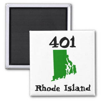 401, Area Code of Rhode Island 2 Inch Square Magnet