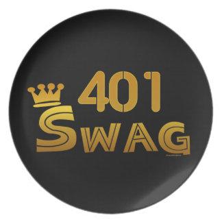 401 Area Code Swag Melamine Plate