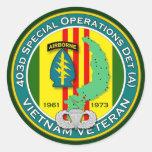 403d SOD-A - ASA Vietnam Classic Round Sticker