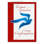 4046 Grandson Confirmation, Blue Dove Greeting Card