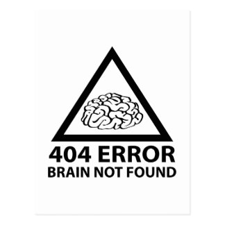 404 Error Brain Not Found Postcard