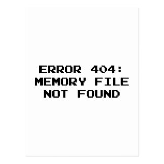 404 Error : Memory File Not Found Postcard