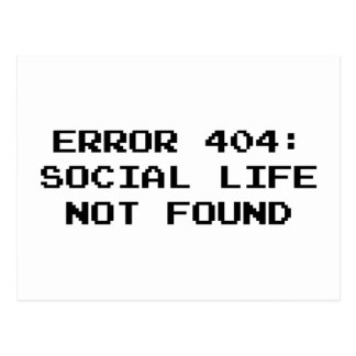 404 Error Social Life Not Found Post Cards