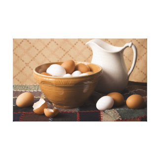 4061 Bowl of Eggs & Pitcher Still Life Canvas Print