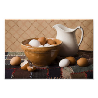 4061 Bowl of Eggs & Pitcher Still Life Poster