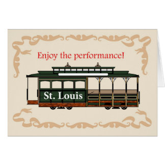4061 Good Luck Musical,  Trolley Car Greeting Card