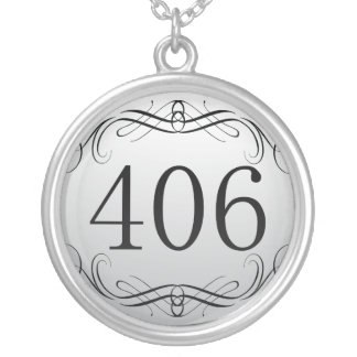 406 Area Code Silver Plated Necklace