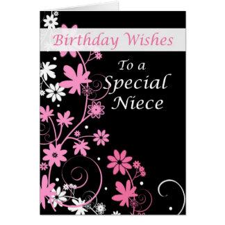 4084 deseos rosa y negro del cumpleaños de la tarjeta de felicitación
