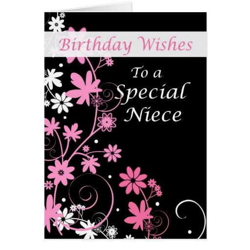 4084 Niece Birthday Wishes Pink And Black Card