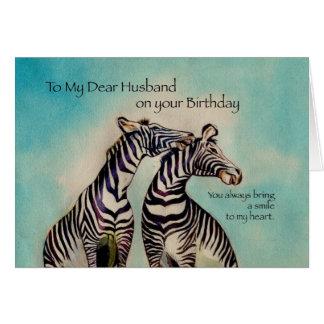 4089 cebras del cumpleaños del marido tarjeta de felicitación